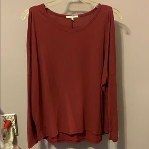 Acemi Brick Red Cold Shoulder Long Sleeve Shirt